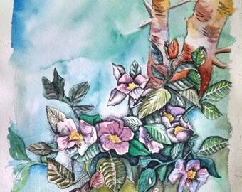 Original Watercolor and Ink Beautiful Spring Flowers