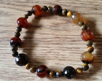 Brown Gems Elasticated Bracelet