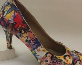 Custom Collage Heels- Disney Princess Design