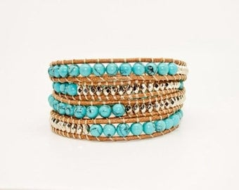 Turquoise and Silver Beads in Tan Leather - Wrap Bracelet
