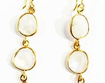 Moon Gemstone in Gold filled Earrings