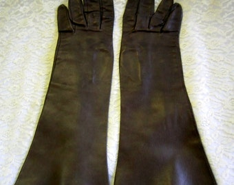 Brown Leather Gloves by Jonquet