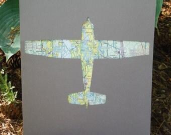 Custom City Airplane Map Art (Cessna 172 Outline)