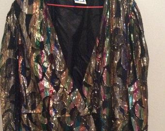 Multicoloured sparkle thread jacket