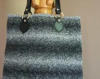 Black and white (salt and pepper) wool felt tote bag