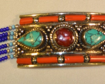 Turquoise, Lapis and Coral Berber Bracelet