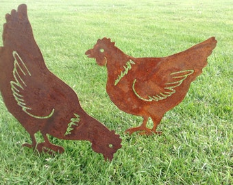 Rusty Hen / Chicken Garden Decor / Chicken gift / Metal Hen Gift / Metal Garden Ornament / Rusty Metal Chicken / Rusty Garden Decor / Hen