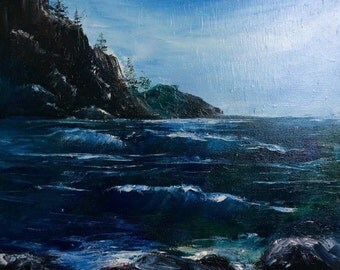 The Rocky Coast- oil painting,palette knife,sea,impasto oil,wall decor,handmade,ocean,canvas,original