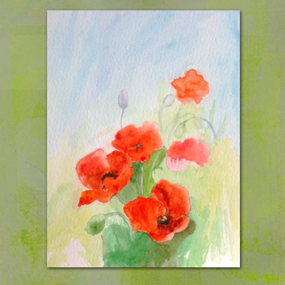 Poppy Original painting watercolor Red poppies flowers Floral