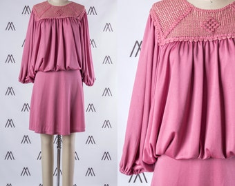 1970s Pink Layered Peasant Sleeve Dress with Crochet Neckline