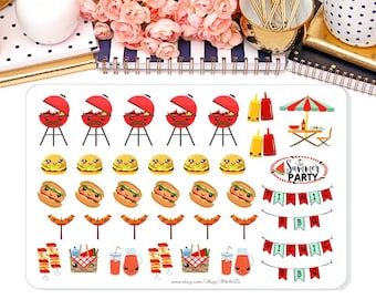BBQ Summer Picnic Planner Stickers/ For Planner, Scrapbook, Journal/ Summer Fun/ Barbecue Stickers /