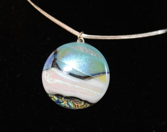 light blue/white dichroic glass necklace