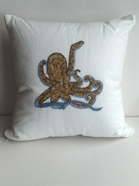 Coastal Nautical Octopus Decorative Pillow Cover White