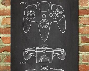 nintendo 64 poster retro nintendo art decor nintendo wall decor gamer poster gift for