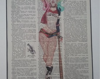 HARLEY QUINN**Uniquely designed on dictionary paper.