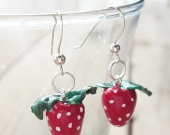 Sterling Silver Strawberry Earrings