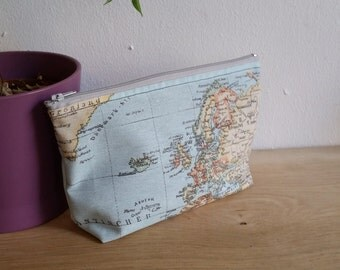 Blue map print make up bag