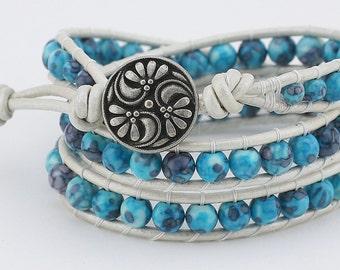 Wrap, Leather wrap bracelet, Rain Flower, Triple wrap, leather bracelet, bracelet, beaded bracelet, women's bracelet,