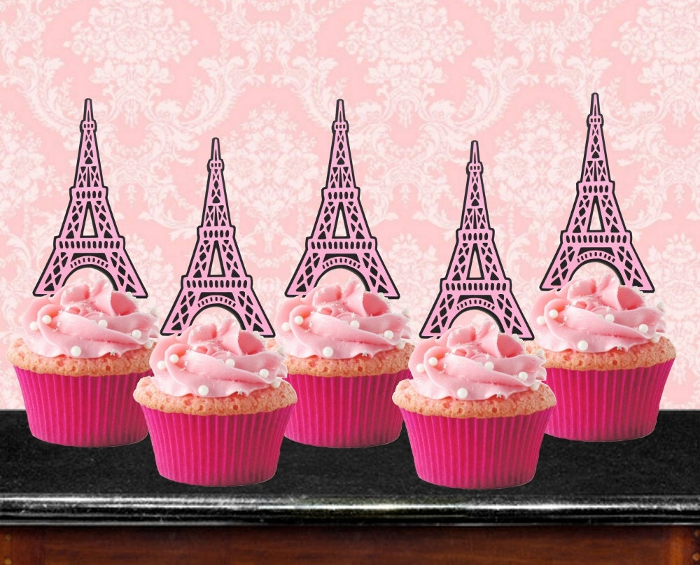 eiffel tower cupcake toppers theme set of 12