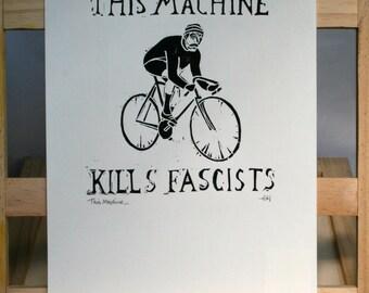 This Machine...Vintage Cyclist Linocut Print, Hand Printed, Woodie Guthrie, Lino Print