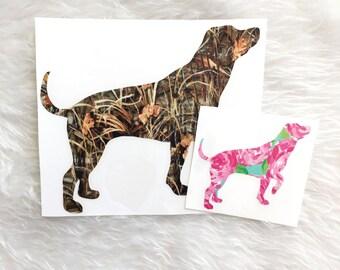 Labrador Retriever Decal, Dog Decal, Lilly Pulitzer, Camo, Car Sticker, YETI Decal For Men, Deer Season, Vinyl, Camo Decal, Hunting, Pet