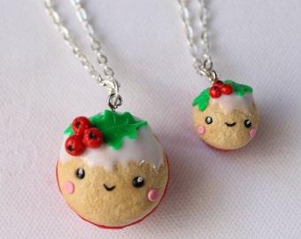 Christmas Gift bff necklace set food friendship  Polymer Clay decoration Charm mini food tiny festive seasonal christmas jewelry kawaii food