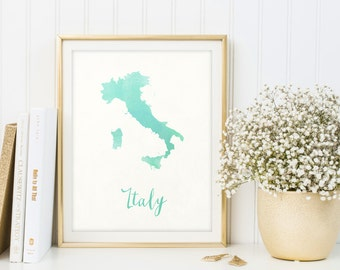 Italy map printable, Watercolor print, Italy print, Italy gift, Italy wall art, Map of Italy, Letter print, Map poster, Digital print, Sign