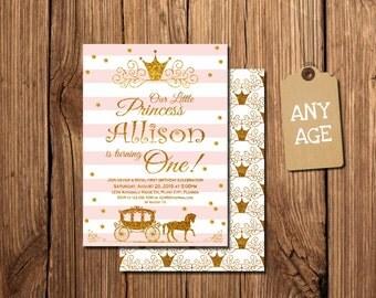 PRINCESS BIRTHDAY INVITATION, Princess Invitation, Princess Birthday, 1st Birthday Princess Invitation, Princess Birthday, free backside