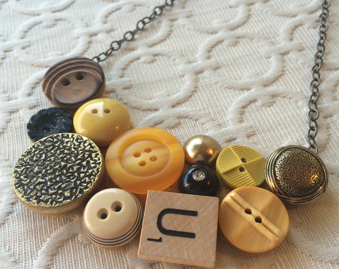 Mixed Media Yellow and Gold Assemblage Necklace