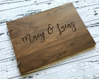 """Personalized Guest Book, Wedding Guest Book Alternative, Engraved Guest Book, Wood Guest Book - """"Engraved & Personalized For You!"""
