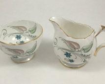 Aynsley Floral Creamer and Sugar Bowl Tea Serving Set Vintage English Fine Bone China