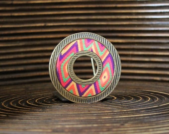 Belt Buckle – Etnic print belt buckle - Interchangeable Belt Buckle – Patern belt buckle – Donut shape belt buckle - DNT-LNE-005