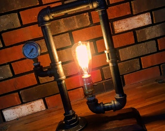 Steampunk Simplicity table lamp, industrial lighting Edison bulb pipe