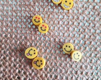 Emoji Earrings,Emoji Faces,Stud Earrings,Emoji Studs,Clay Polymer Earrings,Emoji Jewelry,Emojis,Heart Eyes Emoji,Tongue Out Emoji,Grin Emoji