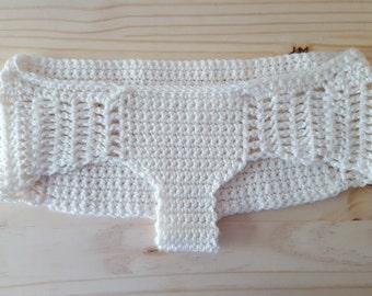 White hipster-cut, crochet handmade underwear