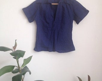 1979s Navy Cotton Blouse Sz UK6-8 XS