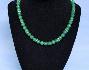 Dark aventurine bead necklace, green, silver, 16 inches