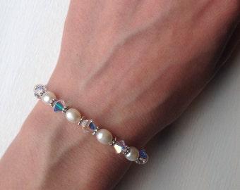 Swarovski and Freshwater Pearls Bracelet, Freshwater Pearls Bracelet, Swarovski Bracelet, Elegant Bracelet