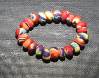 Rainbow Polymer Clay Bracelet