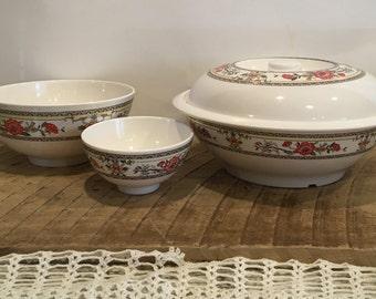 Melamine Bowl Set, 3 Piece Set, Melamine Serving Bowl with Lid, Oriental Serving Bowl, Rice Serving Bowl