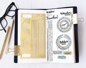 Bullet Journal Stencil, Calendar Wheel Stencil, Monthy Tracker Stencil, Habits Tracker Stencil - fits A5 journal & Midori Regular