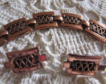 Vintage Renoir Matisse Bracelet and Earrings/Eames Era Jewelry/Modernist Copper Jewelry - FREE SHIPPING!!!