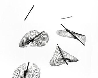 kinetic Metal Art, Modern Mobile in skeleton leaf shape, Hanging Mobile Leaf by Expand Life