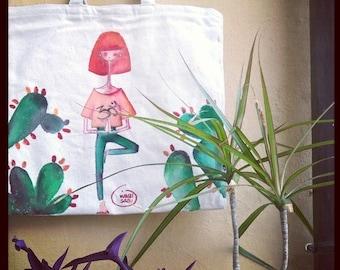 Hand painted cotton shopping bag (vrksasana)