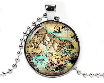 Map of Neverland  Pendant Necklace with a ball chain Peter Pan Neverland Necklace Fangirl Fanboy