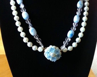 Vintage Frosted Pale Blue Faux Pearl Beaded Necklace