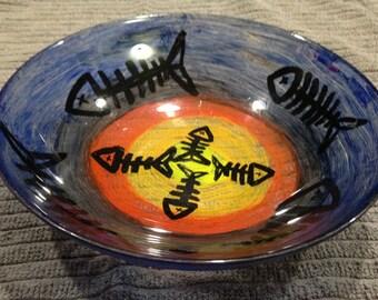 Hand painted fishbone bowl