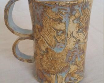 Tall Textured Two Handle Mug