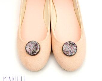 Multicolor glitter circles - shoe clips Manuu,