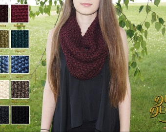 Knit Infinity Scarf, Cowl Scarf, Seed Stitch Scarf, Circle Scarf, Winter Knit Scarf